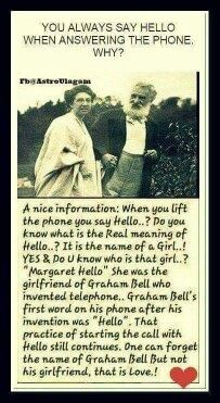 Why do we say hello to answer the phone quora graham bell invented telephone and the first word which he said was hello that is name of his girlfriend margaret hello m4hsunfo