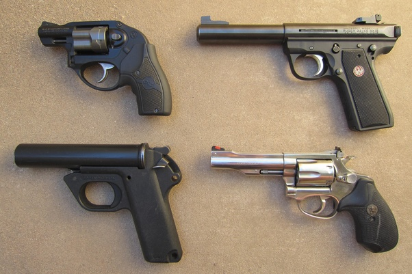 what is the technical term for a pistol without a revolving cylinderseen on the top right and bottom left are plain pistols seen on the top left and bottom right are revolvers