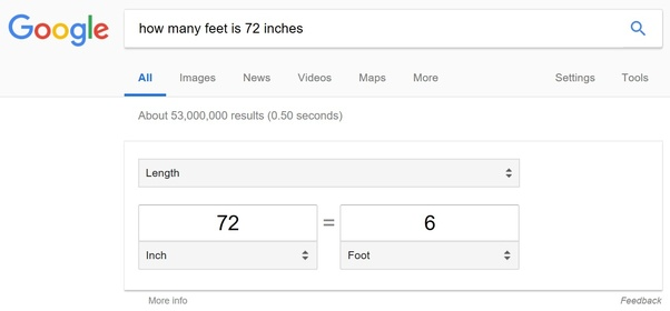 How Many Feet Is 72 Inches Quora
