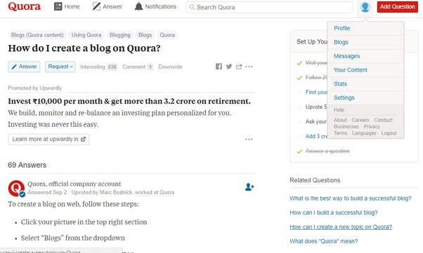 How to create a blog on quora quora click on your profile picture fandeluxe Images