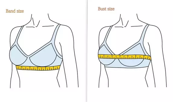Use our bra size chart and measuring guide which provides the following simple three-step process: 1) Determine your band size by measuring the under bust. 2) Learn your bust size by measuring where the bust is at its fullest. 3) Calculate bra cup size by subtracting band size from bust size.