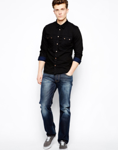 What colour jeans/trousers go well with a black T-shirt or polo ...