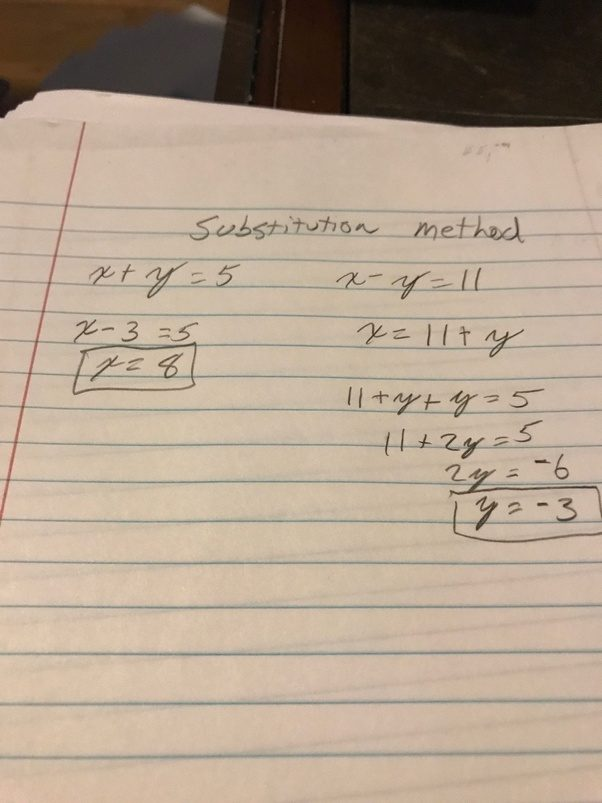 Solve the system of linear equations by elimination. -y-10...