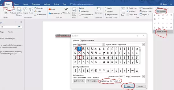 How To Put A Triangle Above A Word Or Letter In Microsoft Word I