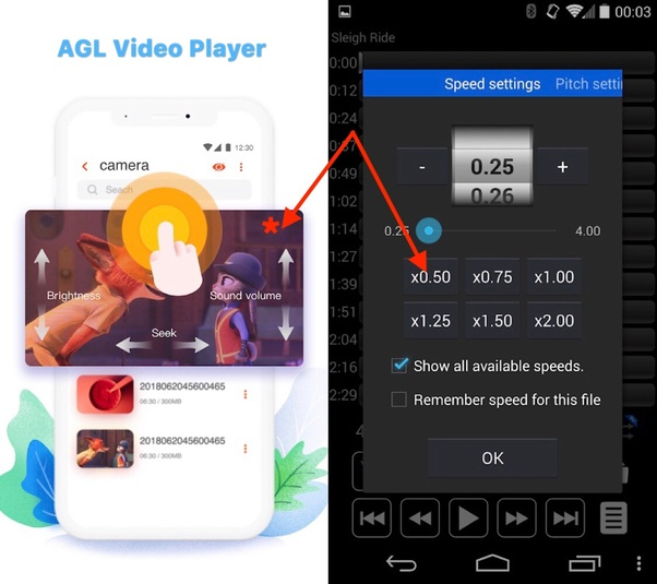 Is there any video player (Android) which lets me adjust the