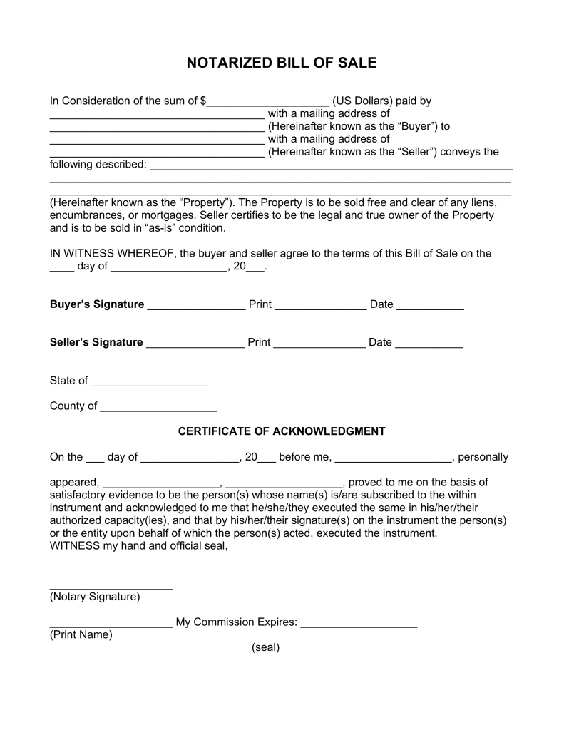 what is a notarized bill of sale quora