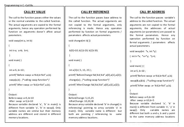 What is the difference between call by value, call by