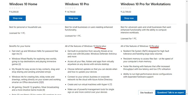 What is the difference in Windows 10 Home Plus and Windows 10 Home