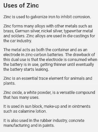 What Are The Uses Of Zinc Quora