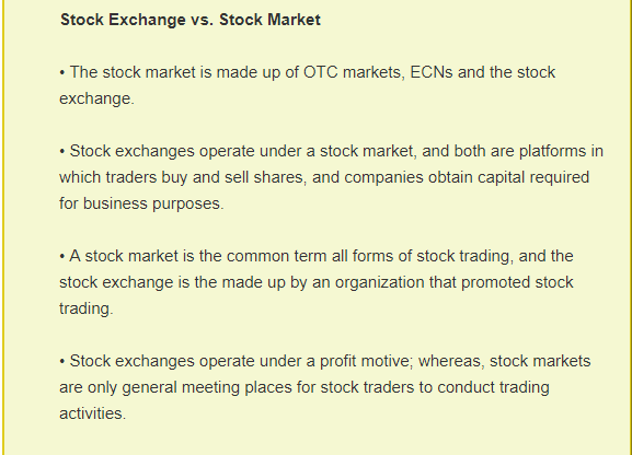What is the difference between forex and stock market