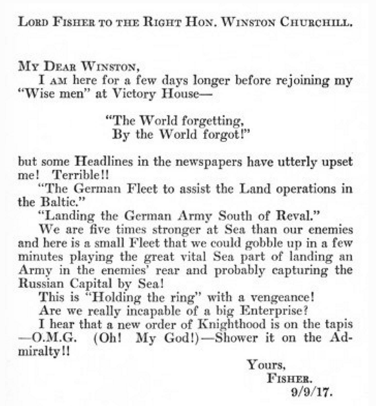Lord Fishers Phrases Had Zero Impact On Their Use In Popular Culture Nor Did The Historical Of Words A Few Christian Liturgical Hymns