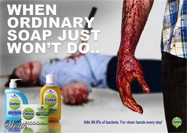 bad soap dettol ad advertisements advertising murder advertisement ads marketing ordinary detol negative someone really blood advert horrible health persuasion