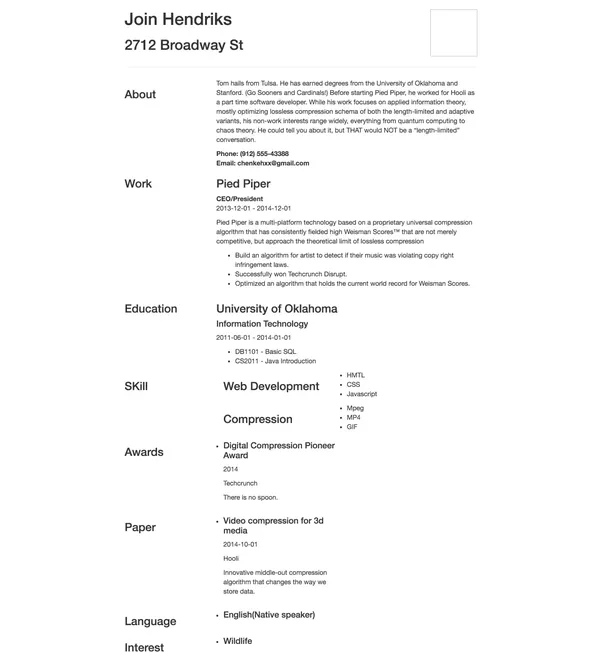 Resume Builder Can Give A Resume Temlate With Many Awesome Themes To Build  Your Own Resume. This Is A Resume Which Generated By It.  Build Your Own Resume