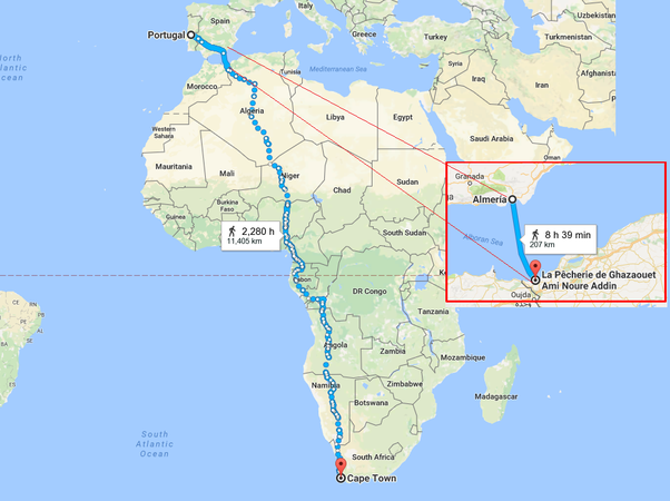 Is it theoretically possible to walk from portugal to singapore or shortest route shown from google map it cuts through africa and across many waterways yes includes ferry ride from europe almera to africa la pcherie gumiabroncs Choice Image