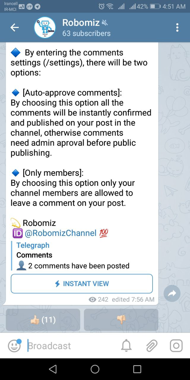 How can my Telegram channel member also send messages to the