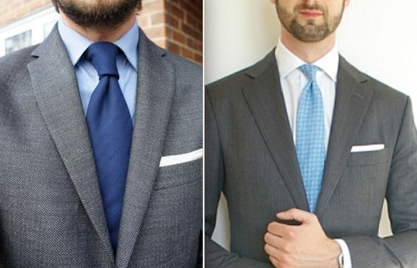What colour tie should i wear to court with a white shirt for Navy suit gray shirt