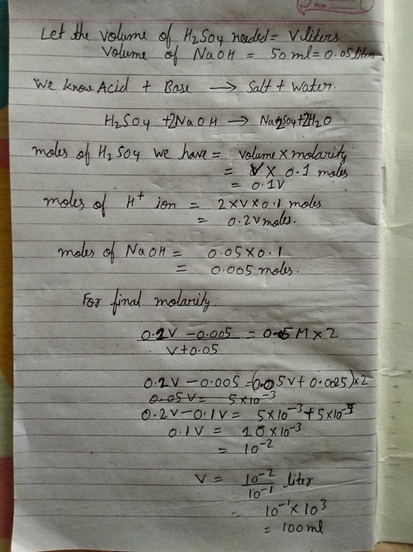 Chemistry What Volume Of 010 M H2s04 Must Be Added To 50 Ml Of A