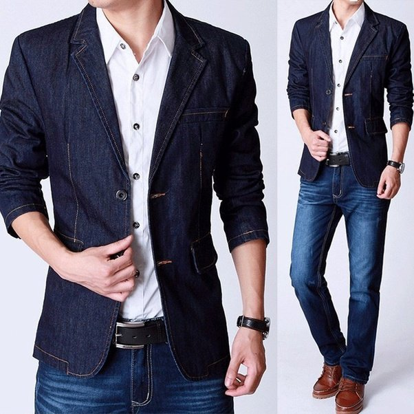 Black shirt blue denim with black blazer? Or White shirt blue ...