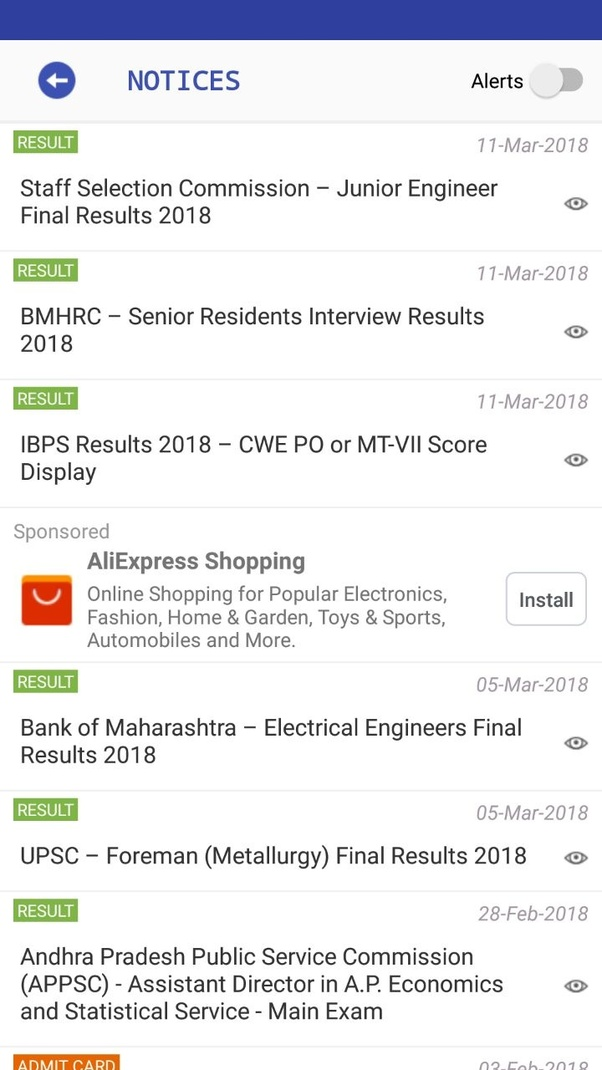 Which is the best app for government jobs notifications in India