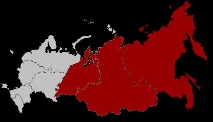 anything to the west of the urals is considered to be in europe and everywhere on the eastern side of the range is considered to be in asia