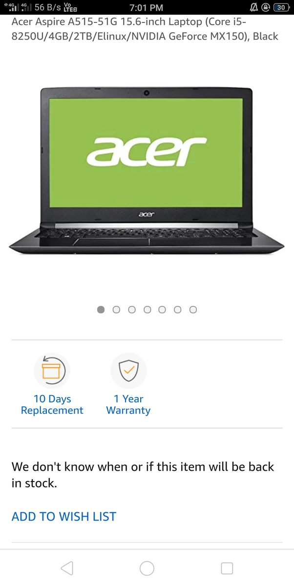 I am looking for a laptop with i5-8th Gen processor, 4/8GB RAM, and