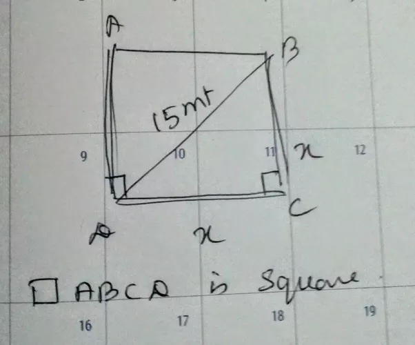 What would be the area and the perimeter of a square whose diagonal quadrilateral abcd is a square ccuart Image collections