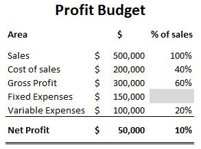 For Example A Profit Budget For A Fully Developed Business Might Look Like  This: