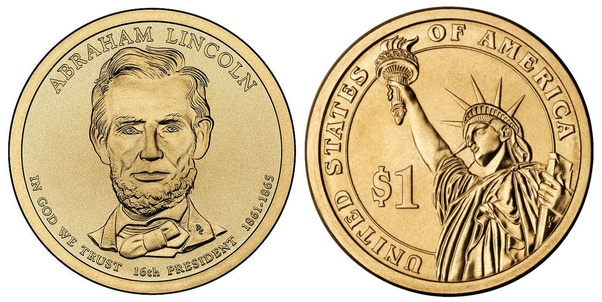 Abraham Lincoln Gold 1 Dollar Coin