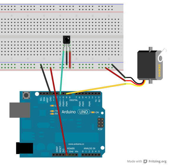 How to control servo motors based on the input from an IR