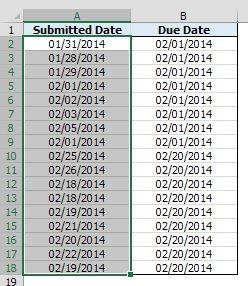 in excel column a has the date that each student s assignment was
