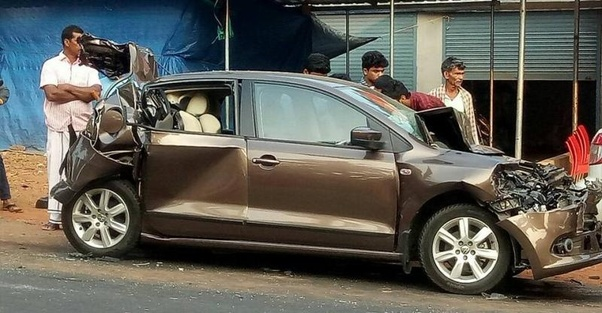 Above Is A Famous Pic Of Volkswagen Vento Sandwhiched Between Two Trucks All The Pangers Were Safe Moreover Cars Have Crumple Zone