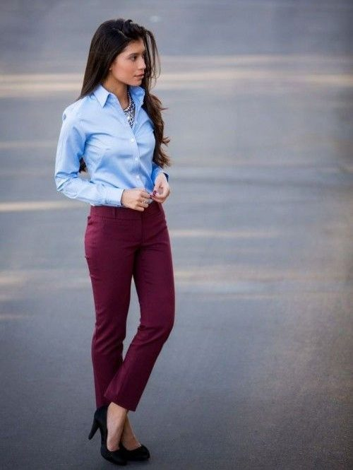 482c7f4932e Above  A classic outfit with a sky blue shirt paired with white pants. You  can never go wrong with this color combination.