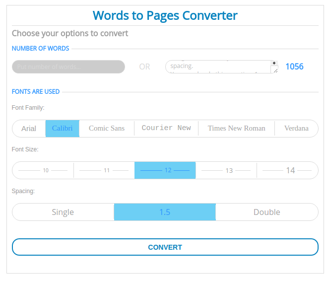What's an easy way to convert page word count without using a
