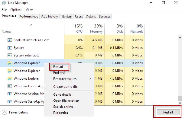 how to restart windows 10 taskbar