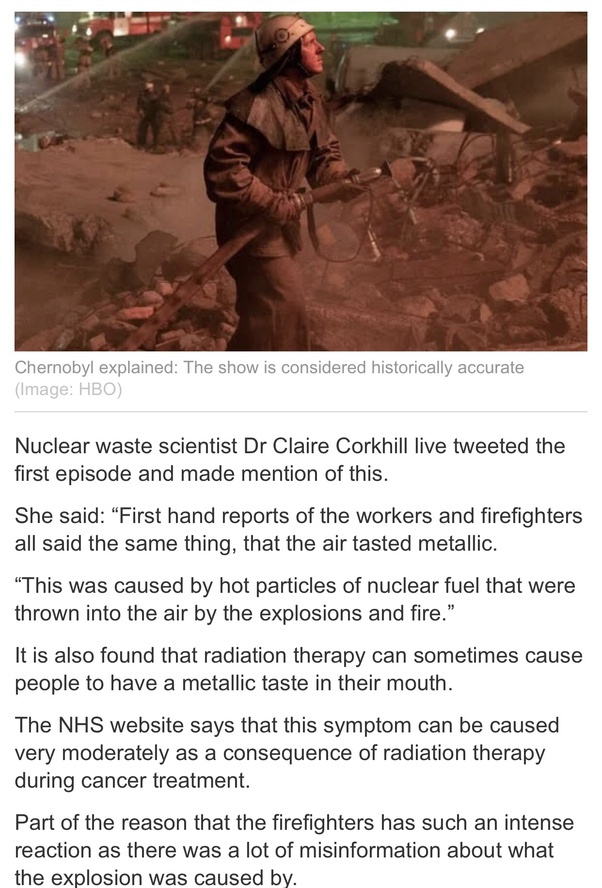 Why did people taste metal in their mouths at Chernobyl