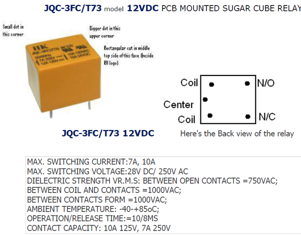 I don't seem to understand the relay JQC-3FC/T73  Which pins do what
