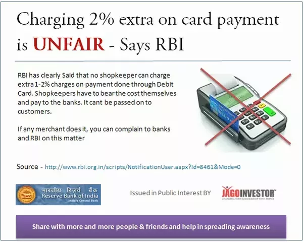 Whom can i complain about the 2 surcharge some shops apply on because merchants already have agreed in the agreement with the card swiping machine bank that they will not charge anything extra from the customers colourmoves