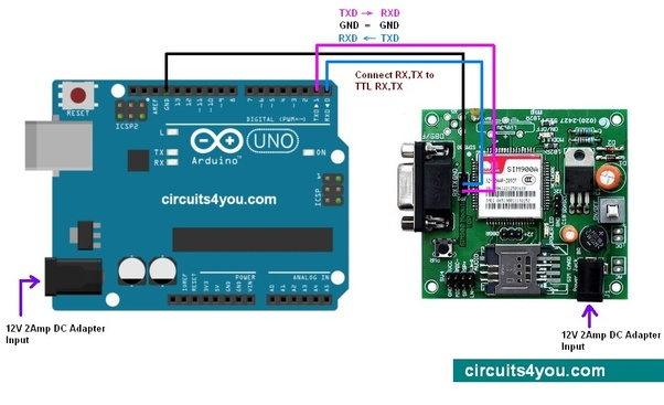 How to interface GSM/GPRS modem-RS232-SIM800 with Arduino