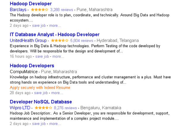take a look at the picture of jobs for hadoop developer by indeedcom - Hadoop Developer Resume