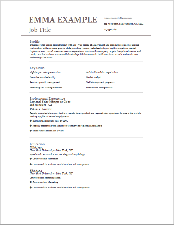 what is the best cv format for college placement