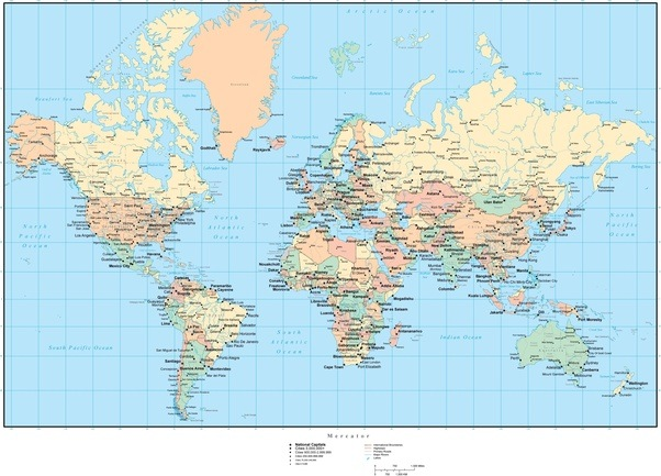 Why isnt our world map made to look like this quora world map with countries capitals cities us states canadian provinces and roads gumiabroncs Choice Image