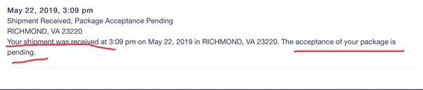 What does USPS mean when it says 'shipment received, package