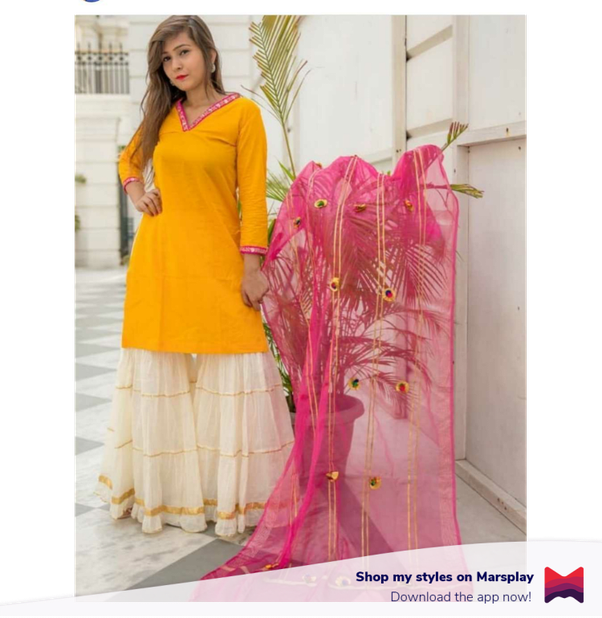 e2b245be86 A short yellow kurti with cream and gold palazzo pants with that extra  flare and the pink and gold dupatta are just a combination made in heaven.