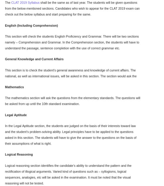 What is the syllabus for the CLAT 2019? - Quora