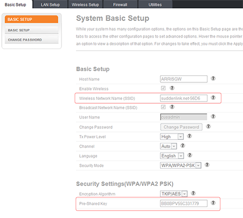 how to change modem name and password arris