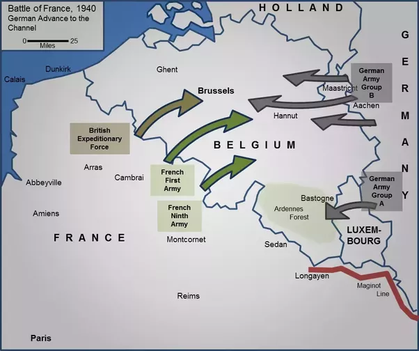 the allied leaders expected germany to go through belgium as they had with the schlieffen plan in world war 1 thus they set up a strong defense along the