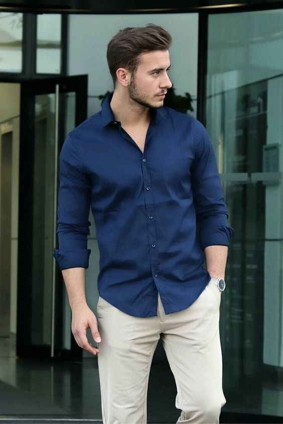 e4a2df8884 You can pair dark blue shirt and cream color trouser both in a casual and  formal way but I suggest you to avoid loafer and try sneaker or chukka boot  for ...