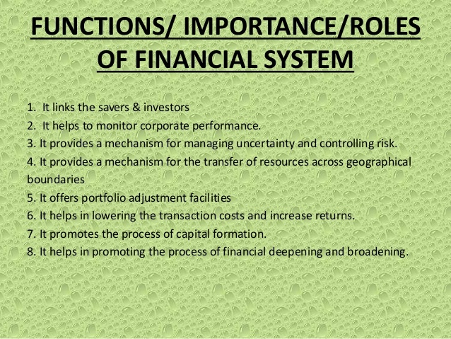 What is the role and importance of financial systems? - Quora