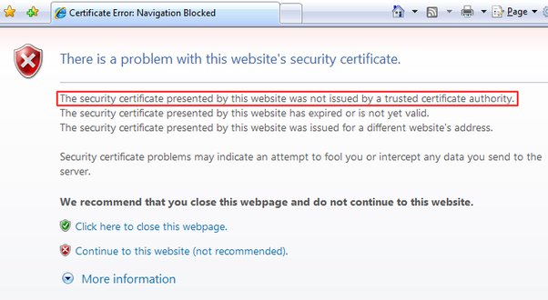 What do certificate errors in Internet Explorer mean? - Quora