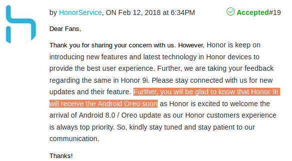 When will Honor 9i get Oreo and Emui 8 updates? - Quora